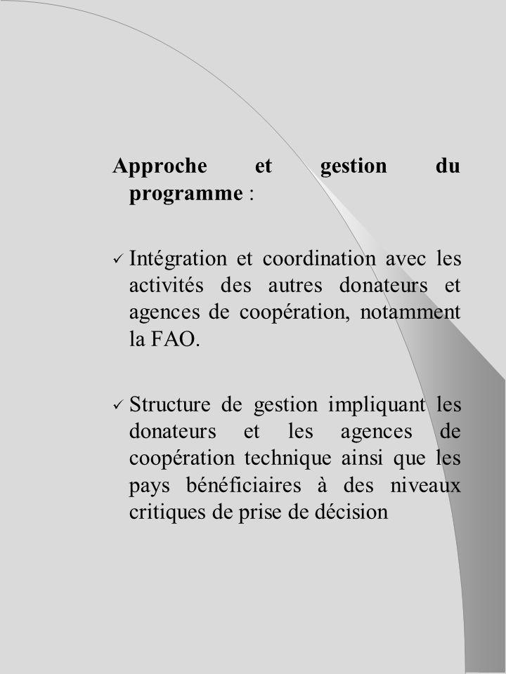 Approche et gestion du programme : Intégration et coordination avec les activités des autres donateurs et agences de coopération, notamment la FAO.