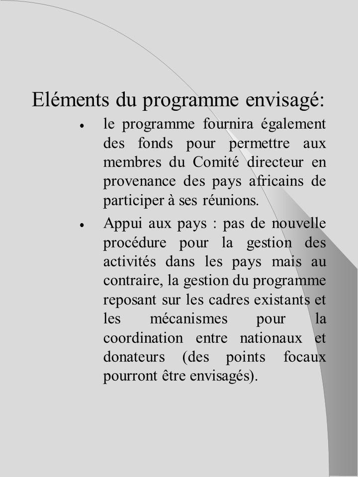 Eléments du programme envisagé: le programme fournira également des fonds pour permettre aux membres du Comité directeur en provenance des pays africains de participer à ses réunions.