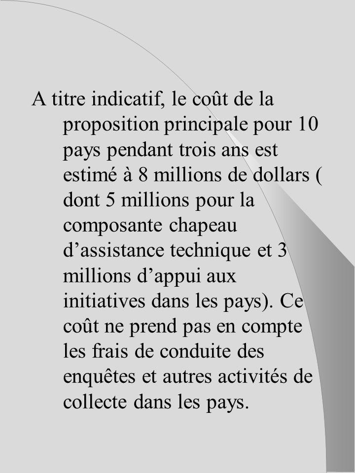 A titre indicatif, le coût de la proposition principale pour 10 pays pendant trois ans est estimé à 8 millions de dollars ( dont 5 millions pour la composante chapeau dassistance technique et 3 millions dappui aux initiatives dans les pays).