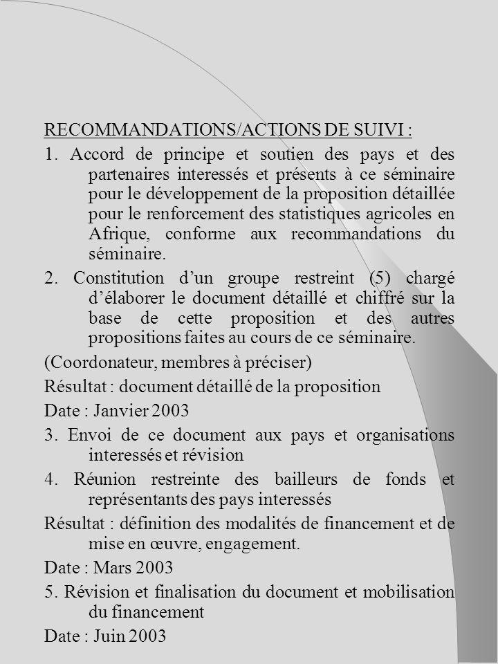 RECOMMANDATIONS/ACTIONS DE SUIVI : 1.