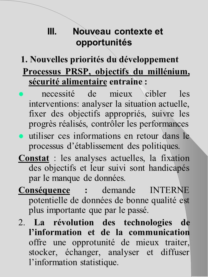 III.Nouveau contexte et opportunités 1.