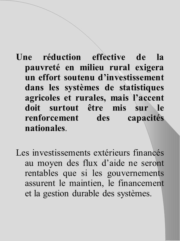Une réduction effective de la pauvreté en milieu rural exigera un effort soutenu dinvestissement dans les systèmes de statistiques agricoles et rurales, mais laccent doit surtout être mis sur le renforcement des capacités nationales.