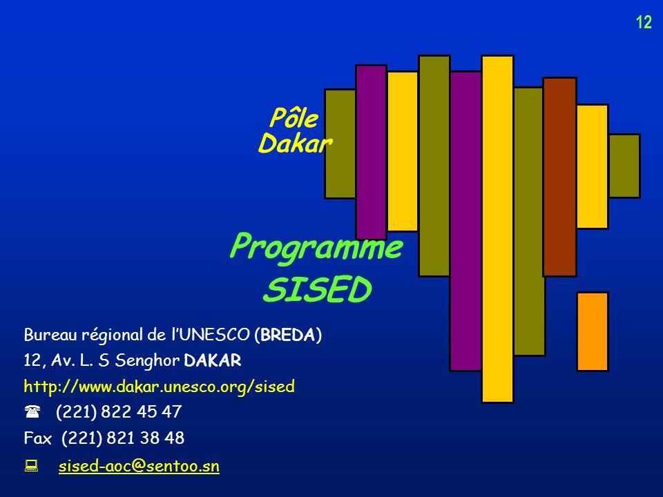 11 le Pôle SISED de Dakar propose aux pays de la sous-région : ladaptation de ces outils aux besoins et spécificités nationales laccompagnement techni