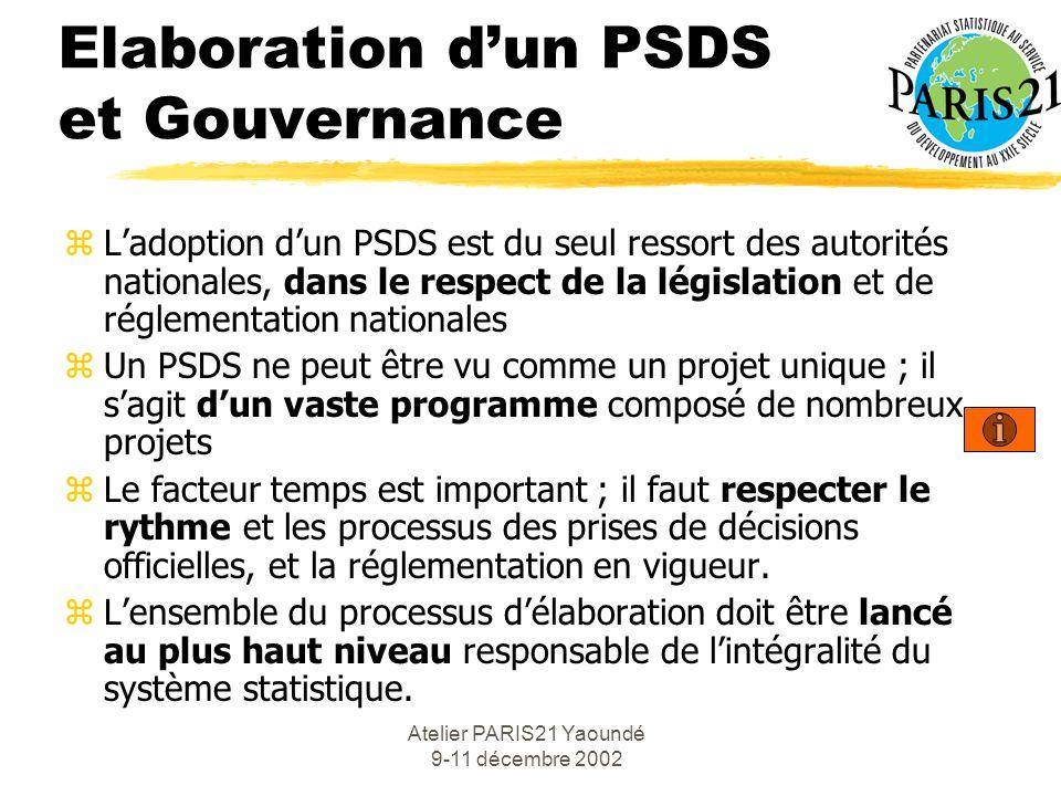 Atelier PARIS21 Yaoundé 9-11 décembre 2002 Elaboration dun PSDS et Gouvernance zLadoption dun PSDS est du seul ressort des autorités nationales, dans