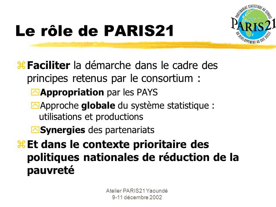 Atelier PARIS21 Yaoundé 9-11 décembre 2002 Le rôle de PARIS21 zFaciliter la démarche dans le cadre des principes retenus par le consortium : yAppropriation par les PAYS yApproche globale du système statistique : utilisations et productions ySynergies des partenariats zEt dans le contexte prioritaire des politiques nationales de réduction de la pauvreté