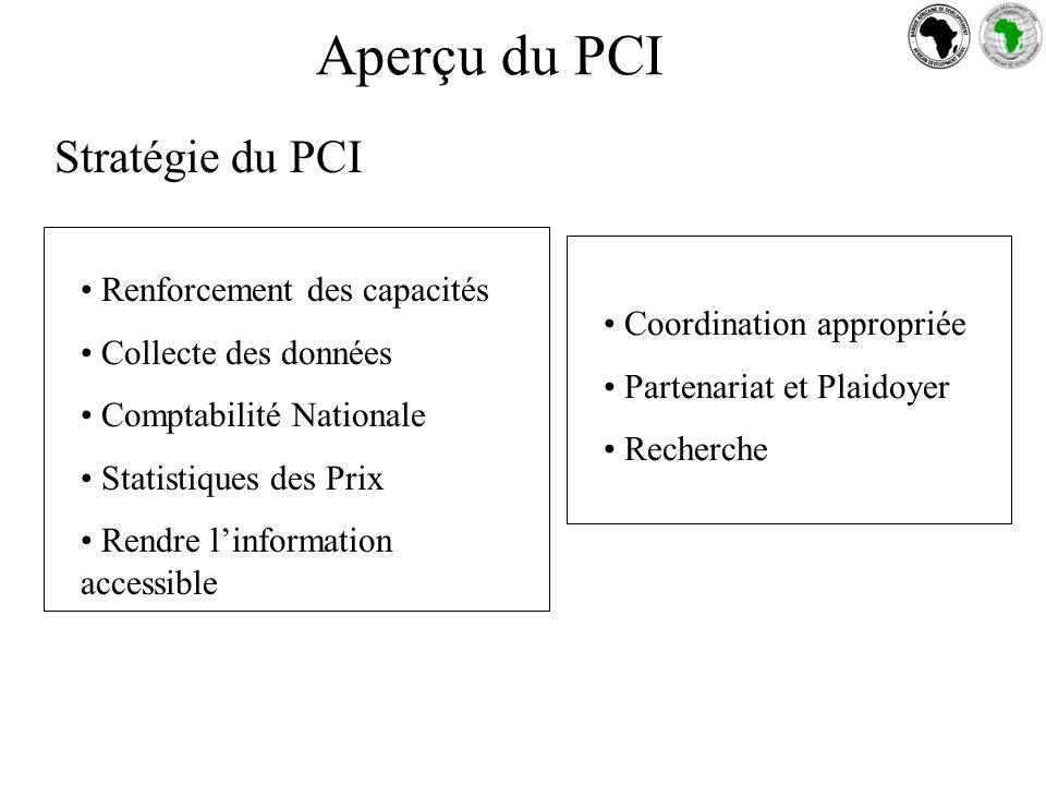 Stratégie du PCI Renforcement des capacités Collecte des données Comptabilité Nationale Statistiques des Prix Rendre linformation accessible Coordination appropriée Partenariat et Plaidoyer Recherche Aperçu du PCI