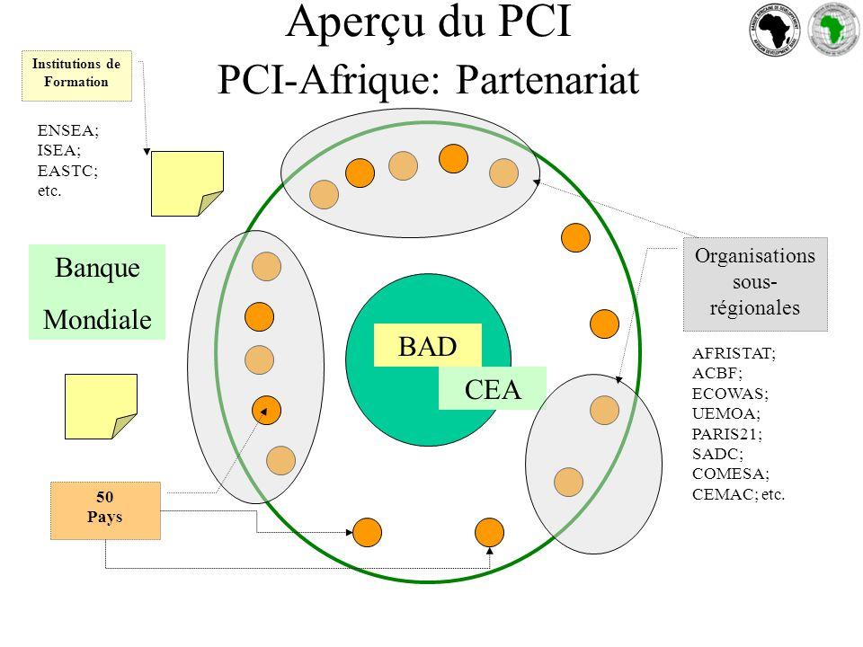 Aperçu du PCI PCI-Afrique: Partenariat BAD CEA Organisations sous- régionales 50 Pays Institutions de Formation AFRISTAT; ACBF; ECOWAS; UEMOA; PARIS21; SADC; COMESA; CEMAC; etc.