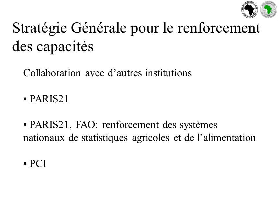 Stratégie Générale pour le renforcement des capacités Collaboration avec dautres institutions PARIS21 PARIS21, FAO: renforcement des systèmes nationaux de statistiques agricoles et de lalimentation PCI