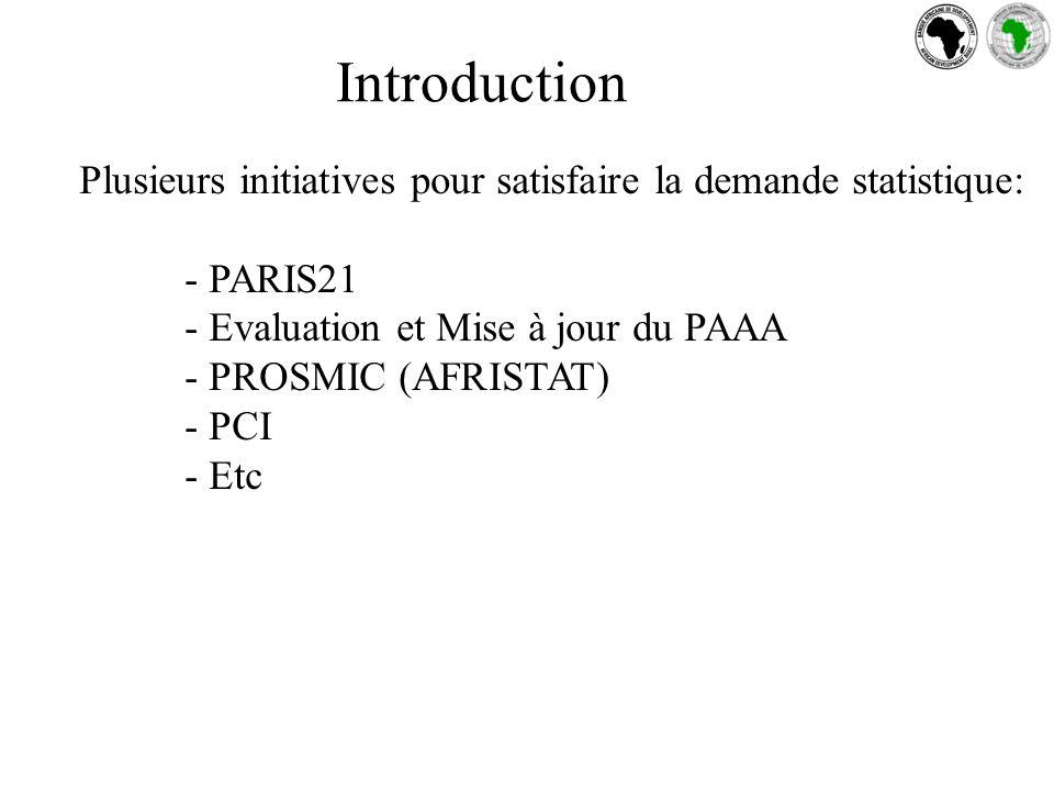 Introduction Plusieurs initiatives pour satisfaire la demande statistique: - PARIS21 - Evaluation et Mise à jour du PAAA - PROSMIC (AFRISTAT) - PCI - Etc