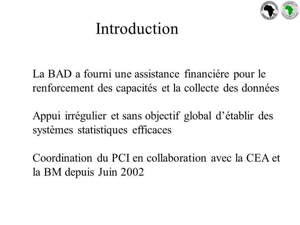 Introduction La BAD a fourni une assistance financiére pour le renforcement des capacités et la collecte des données Appui irrégulier et sans objectif global détablir des systèmes statistiques efficaces Coordination du PCI en collaboration avec la CEA et la BM depuis Juin 2002
