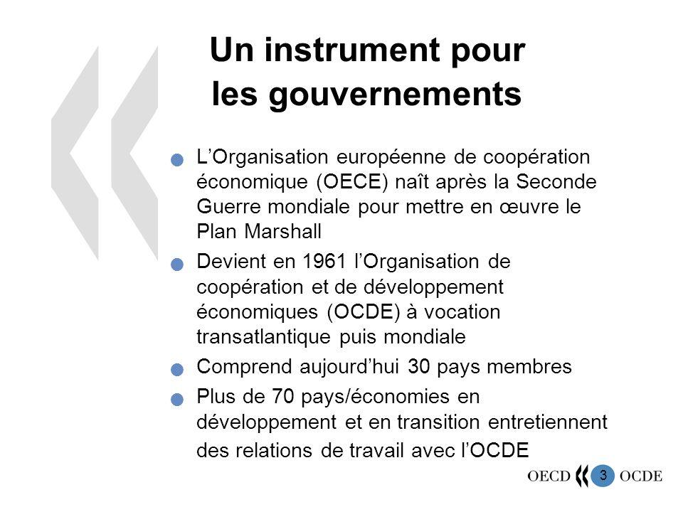4 Une vocation mondiale Pays membres de lOCDE Pays/économies entretenant des relations de travail avec lOCDE