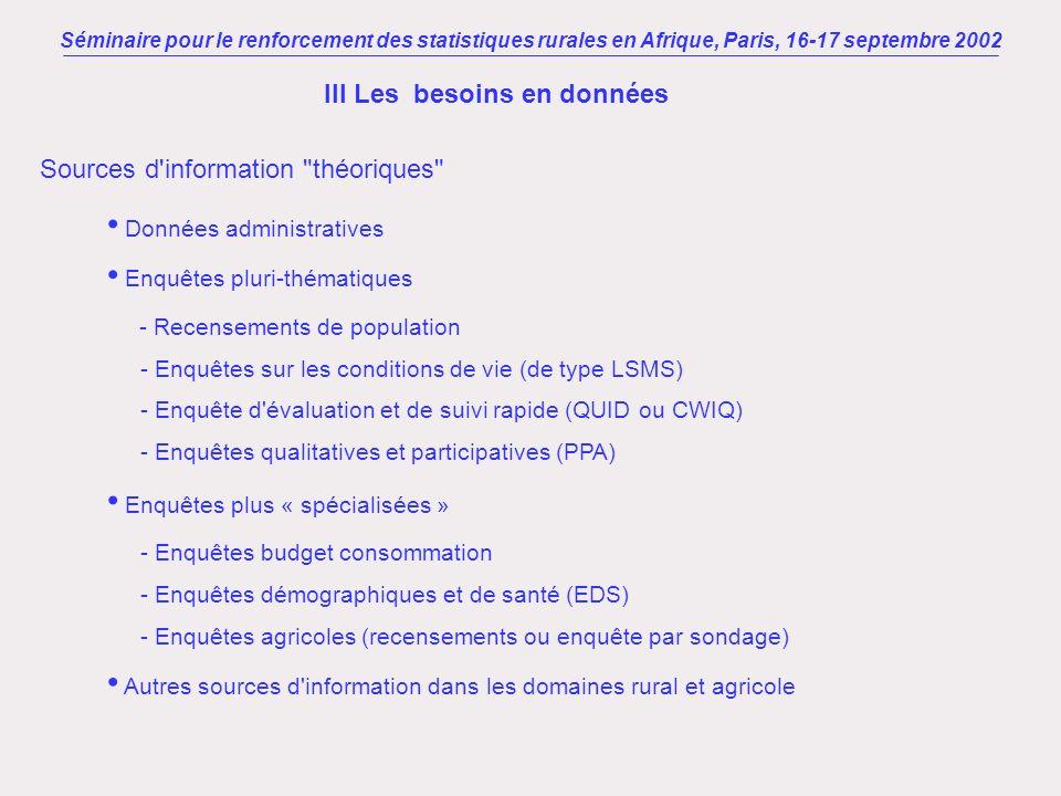 Séminaire pour le renforcement des statistiques rurales en Afrique, Paris, 16-17 septembre 2002 III Les besoins en données Sources d'information
