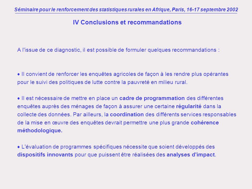 Séminaire pour le renforcement des statistiques rurales en Afrique, Paris, 16-17 septembre 2002 IV Conclusions et recommandations A l'issue de ce diag