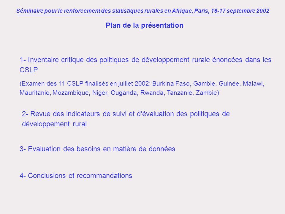 Séminaire pour le renforcement des statistiques rurales en Afrique, Paris, 16-17 septembre 2002 I Les politiques de lutte contre la pauvreté en milieu rural Amélioration des conditions de vie des populations rurales = axe stratégique prioritaire de la politique de lutte contre la pauvreté.