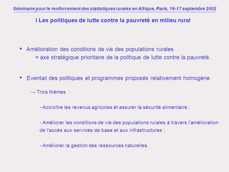 Séminaire pour le renforcement des statistiques rurales en Afrique, Paris, 16-17 septembre 2002 I Les politiques de lutte contre la pauvreté en milieu