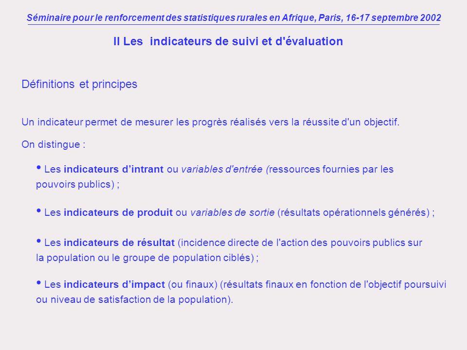 Séminaire pour le renforcement des statistiques rurales en Afrique, Paris, 16-17 septembre 2002 II Les indicateurs de suivi et d'évaluation Définition
