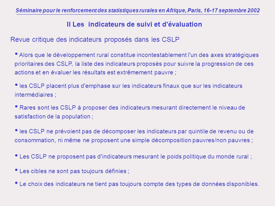 Séminaire pour le renforcement des statistiques rurales en Afrique, Paris, 16-17 septembre 2002 II Les indicateurs de suivi et d'évaluation Alors que