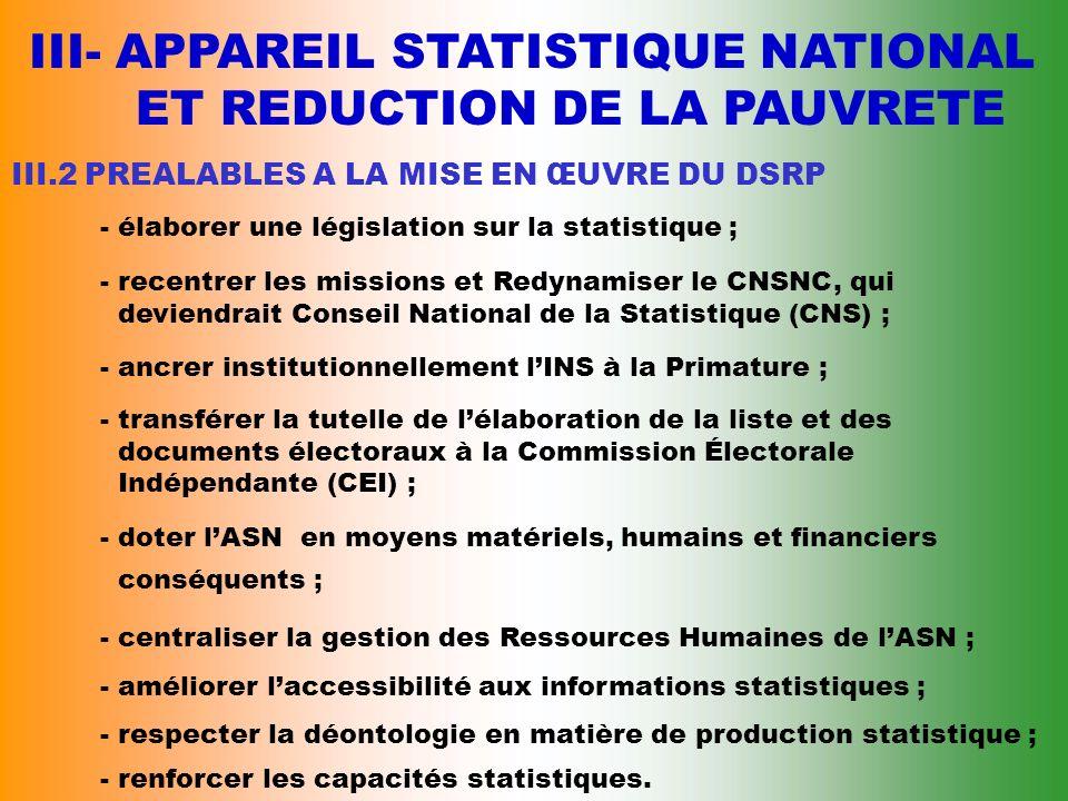 III- APPAREIL STATISTIQUE NATIONAL ET REDUCTION DE LA PAUVRETE III.1 LES ENQUÊTES MENÉES PAR LINS DEPUIS 90 - Enquêtes de niveau de vie (1993, 1995, 1