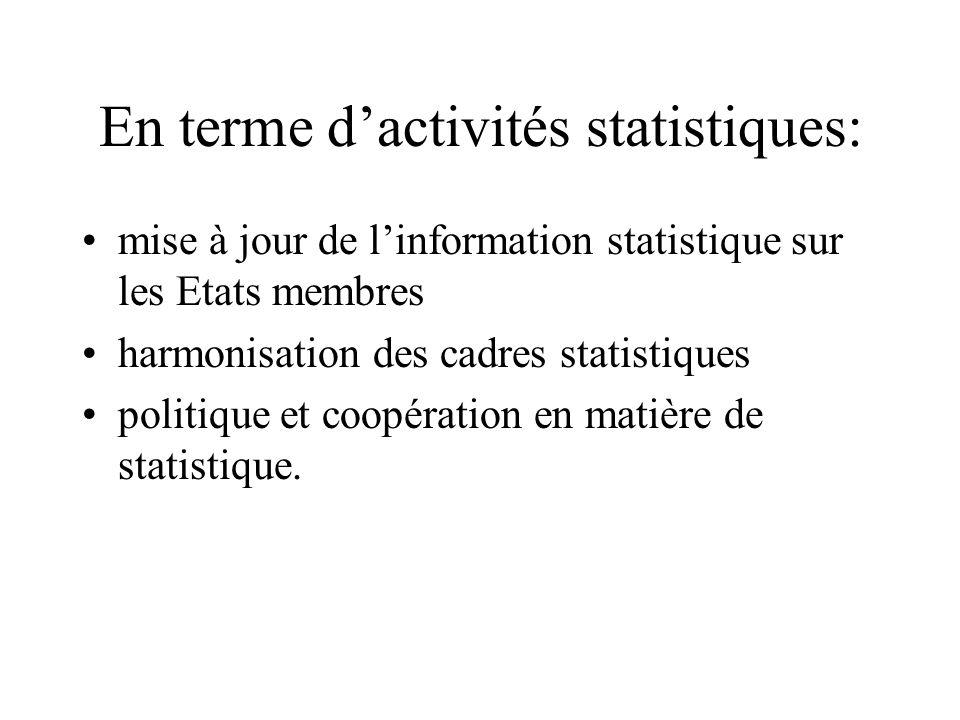 En terme dactivités statistiques: mise à jour de linformation statistique sur les Etats membres harmonisation des cadres statistiques politique et coo