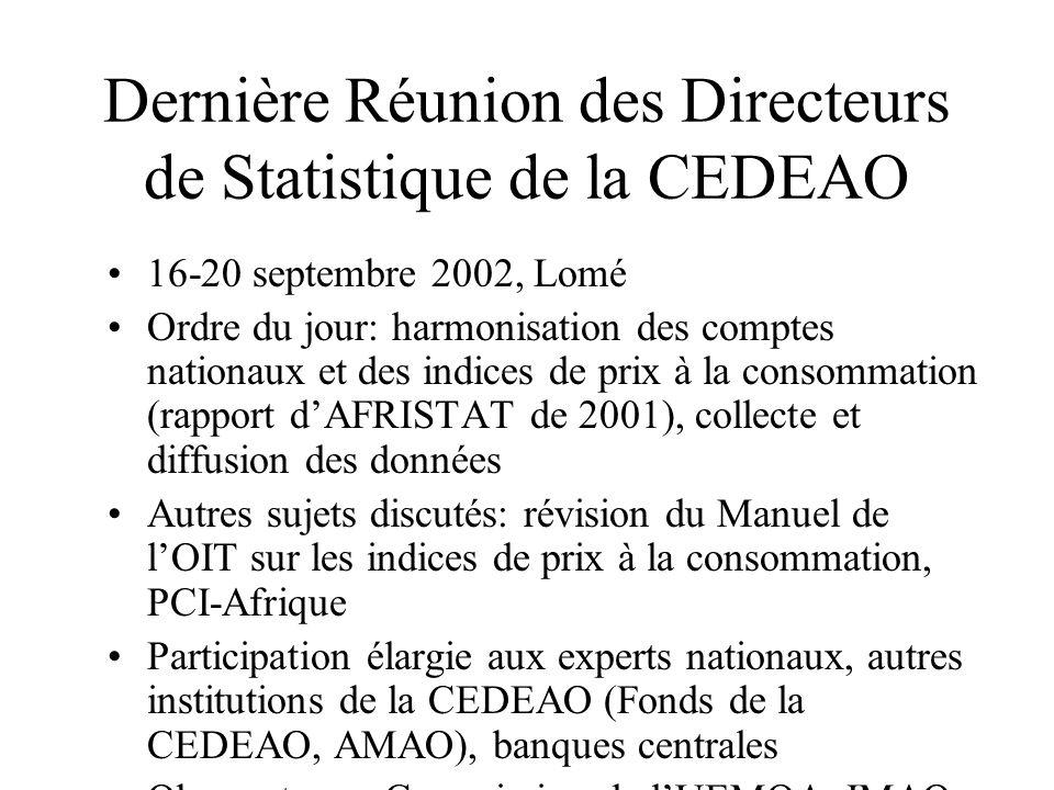 Dernière Réunion des Directeurs de Statistique de la CEDEAO 16-20 septembre 2002, Lomé Ordre du jour: harmonisation des comptes nationaux et des indic