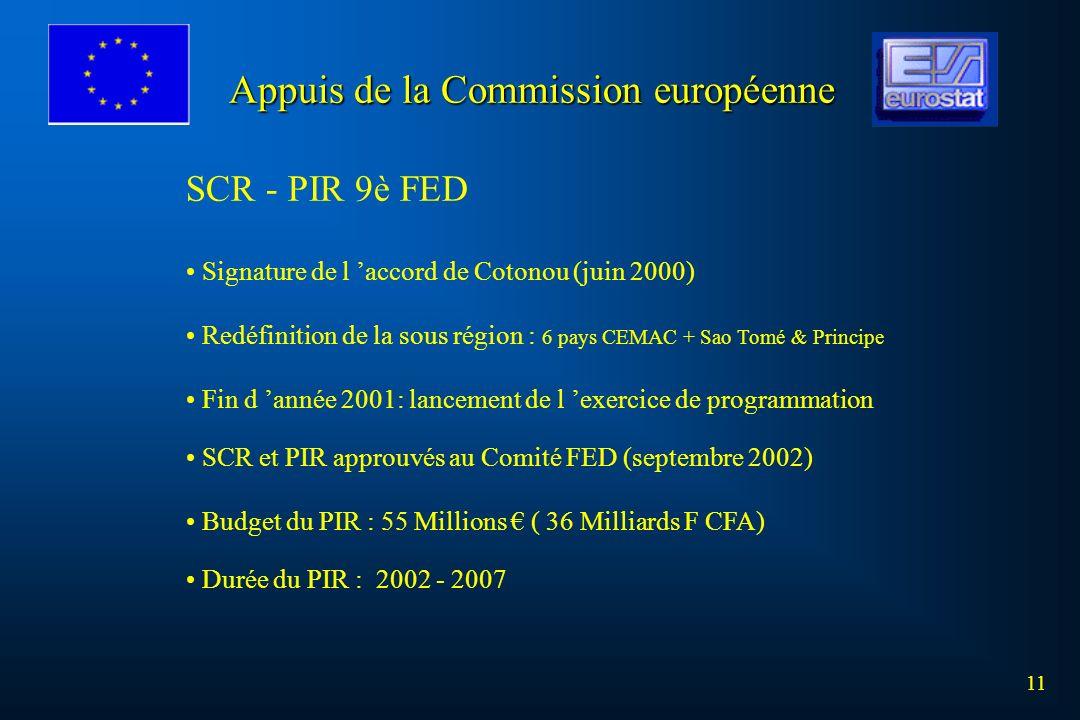 11 SCR - PIR 9è FED Signature de l accord de Cotonou (juin 2000) Redéfinition de la sous région : 6 pays CEMAC + Sao Tomé & Principe Fin d année 2001: