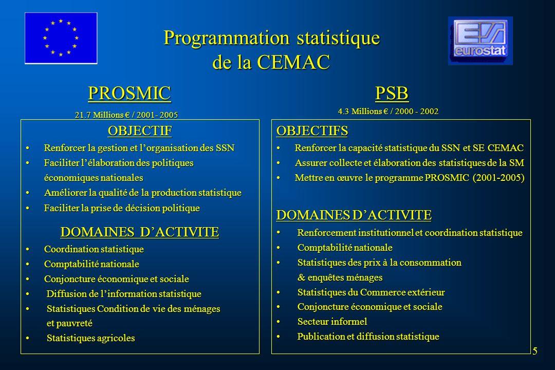 5 Programmation statistique de la CEMAC OBJECTIF Renforcer la gestion et lorganisation des SSNRenforcer la gestion et lorganisation des SSN Faciliter