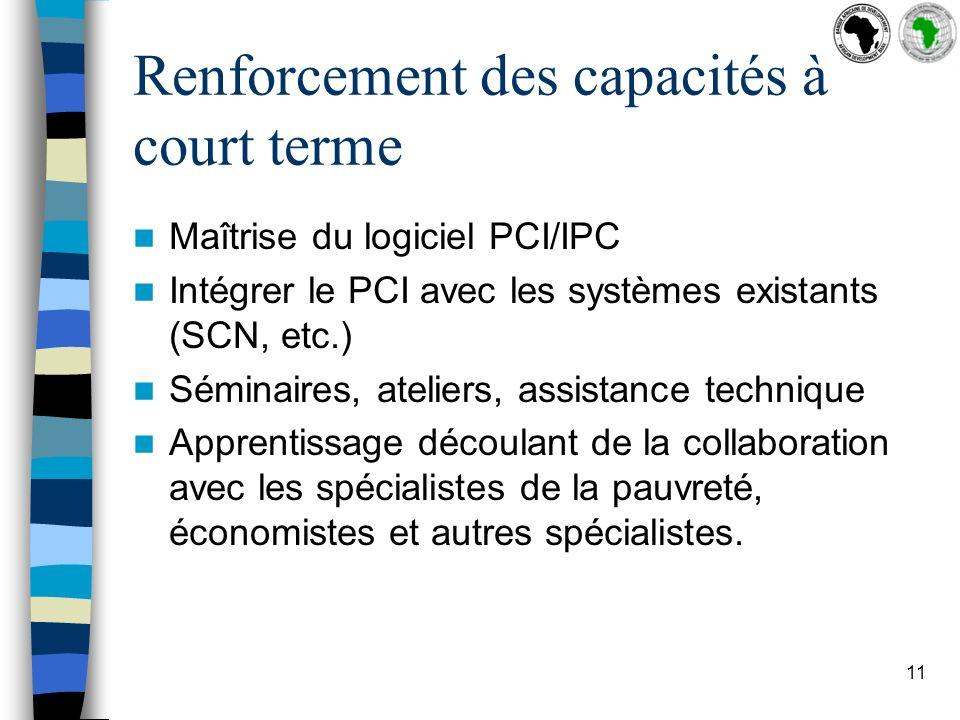 11 Renforcement des capacités à court terme Maîtrise du logiciel PCI/IPC Intégrer le PCI avec les systèmes existants (SCN, etc.) Séminaires, ateliers, assistance technique Apprentissage découlant de la collaboration avec les spécialistes de la pauvreté, économistes et autres spécialistes.