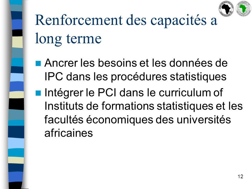 12 Renforcement des capacités a long terme Ancrer les besoins et les données de IPC dans les procédures statistiques Intégrer le PCI dans le curriculum of Instituts de formations statistiques et les facultés économiques des universités africaines