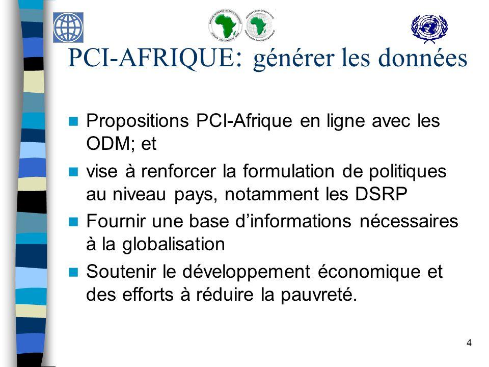 4 PCI-AFRIQUE : générer les données Propositions PCI-Afrique en ligne avec les ODM; et vise à renforcer la formulation de politiques au niveau pays, notamment les DSRP Fournir une base dinformations nécessaires à la globalisation Soutenir le développement économique et des efforts à réduire la pauvreté.
