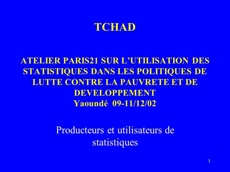 1 TCHAD ATELIER PARIS21 SUR LUTILISATION DES STATISTIQUES DANS LES POLITIQUES DE LUTTE CONTRE LA PAUVRETE ET DE DEVELOPPEMENT Yaoundé 09-11/12/02 Prod