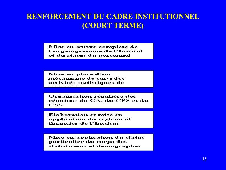 15 RENFORCEMENT DU CADRE INSTITUTIONNEL (COURT TERME)