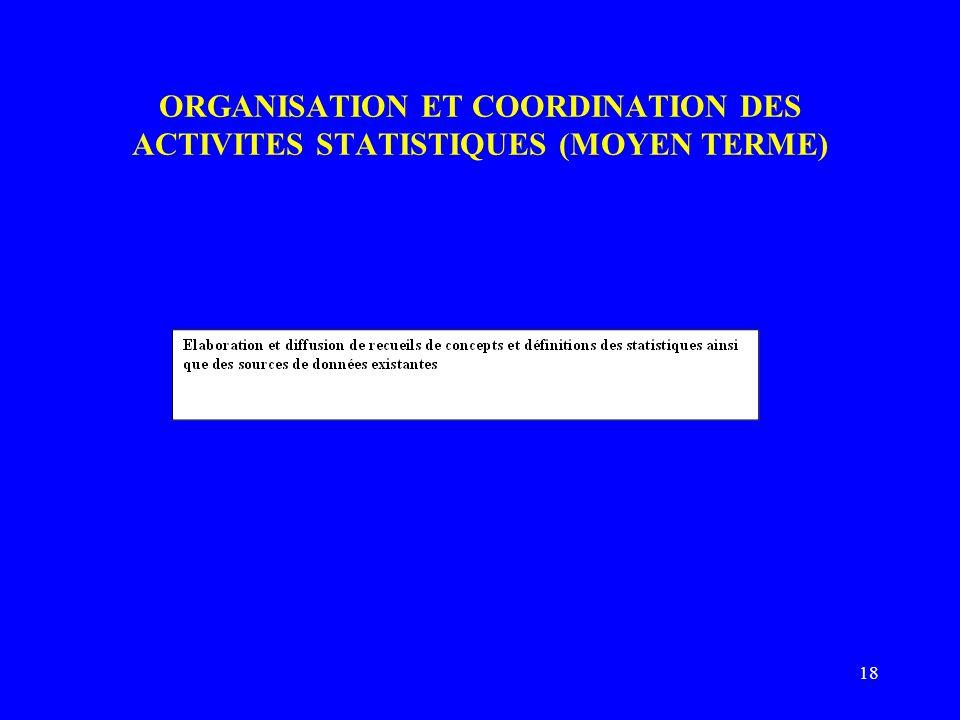 18 ORGANISATION ET COORDINATION DES ACTIVITES STATISTIQUES (MOYEN TERME)