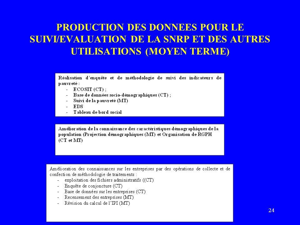 24 PRODUCTION DES DONNEES POUR LE SUIVI/EVALUATION DE LA SNRP ET DES AUTRES UTILISATIONS (MOYEN TERME)