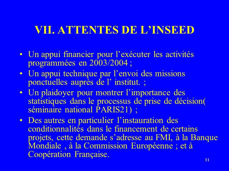 31 VII. ATTENTES DE LINSEED Un appui financier pour lexécuter les activités programmées en 2003/2004 ; Un appui technique par lenvoi des missions ponc