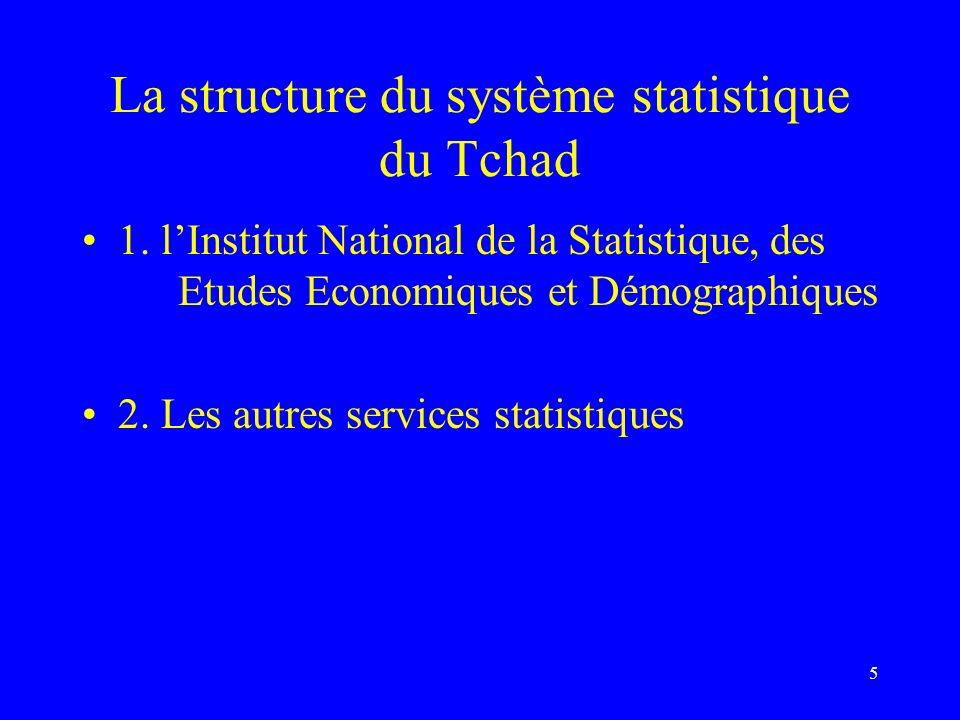 5 La structure du système statistique du Tchad 1. lInstitut National de la Statistique, des Etudes Economiques et Démographiques 2. Les autres service