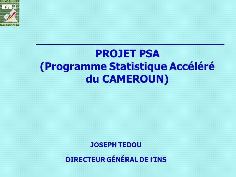 PROJET PSA (Programme Statistique Accéléré du CAMEROUN) JOSEPH TEDOU DIRECTEUR GÉNÉRAL DE lINS