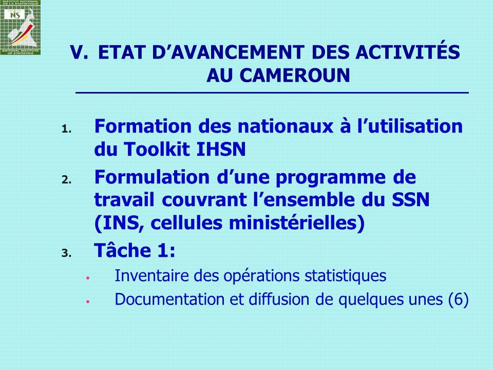 V.ETAT DAVANCEMENT DES ACTIVITÉS AU CAMEROUN 1. Formation des nationaux à lutilisation du Toolkit IHSN 2. Formulation dune programme de travail couvra