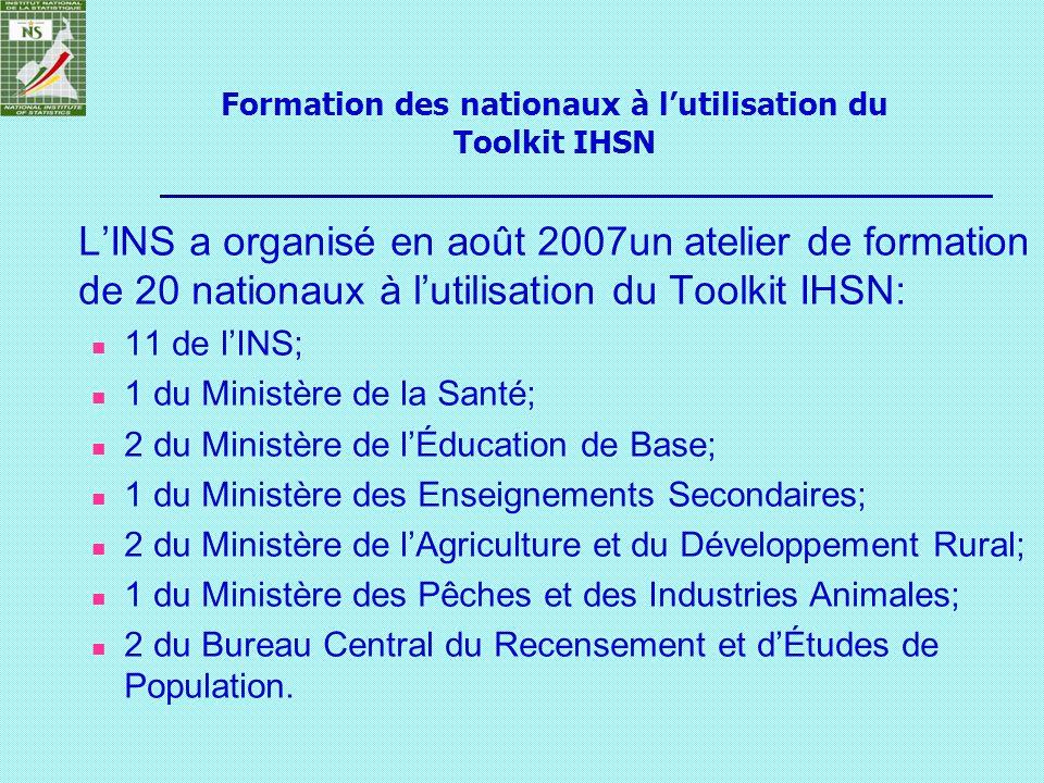LINS a organisé en août 2007un atelier de formation de 20 nationaux à lutilisation du Toolkit IHSN: 11 de lINS; 1 du Ministère de la Santé; 2 du Minis