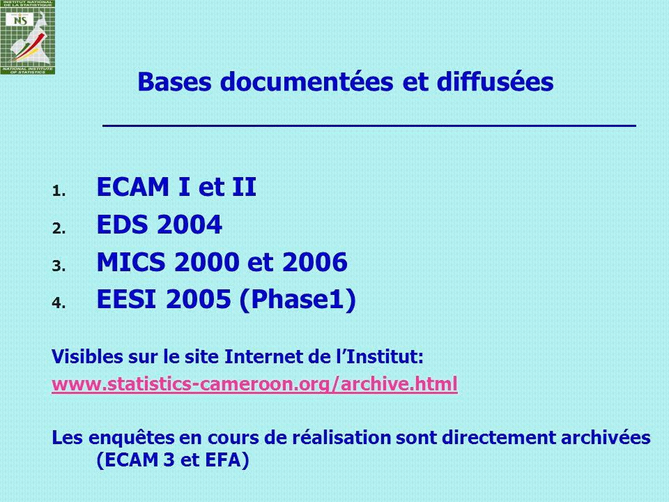1. ECAM I et II 2. EDS 2004 3. MICS 2000 et 2006 4. EESI 2005 (Phase1) Visibles sur le site Internet de lInstitut: www.statistics-cameroon.org/archive