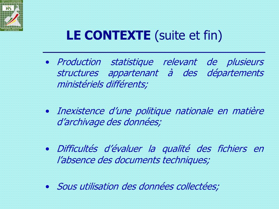 Production statistique relevant de plusieurs structures appartenant à des départements ministériels différents; Inexistence dune politique nationale e