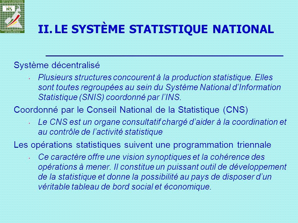 II.LE SYSTÈME STATISTIQUE NATIONAL Système décentralisé Plusieurs structures concourent à la production statistique. Elles sont toutes regroupées au s