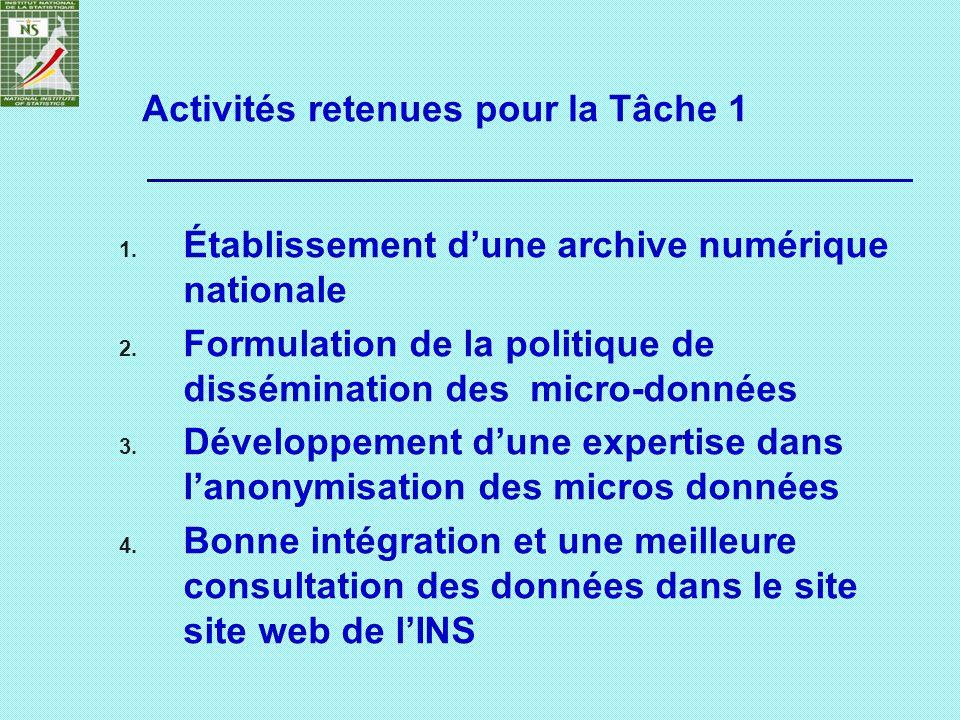 Activités retenues pour la Tâche 1 1. Établissement dune archive numérique nationale 2. Formulation de la politique de dissémination des micro-données