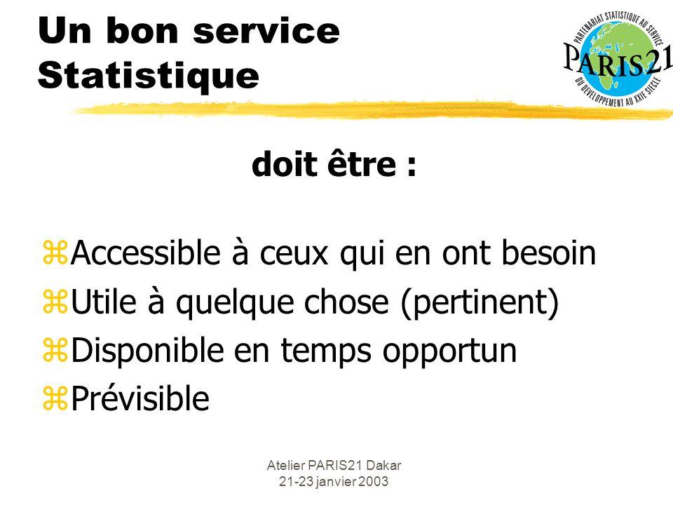 Atelier PARIS21 Dakar 21-23 janvier 2003 Un bon service Statistique doit être : zAccessible à ceux qui en ont besoin zUtile à quelque chose (pertinent) zDisponible en temps opportun zPrévisible