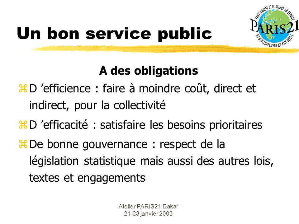 Atelier PARIS21 Dakar 21-23 janvier 2003 Un bon service public A des obligations zD efficience : faire à moindre coût, direct et indirect, pour la col