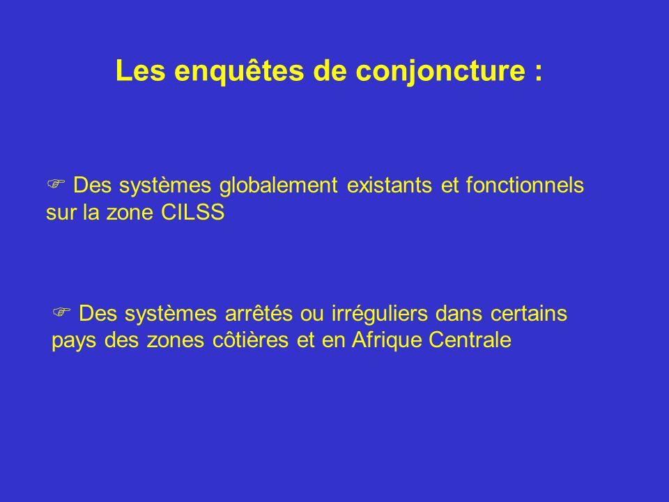 Les enquêtes de conjoncture : Des systèmes globalement existants et fonctionnels sur la zone CILSS Des systèmes arrêtés ou irréguliers dans certains pays des zones côtières et en Afrique Centrale