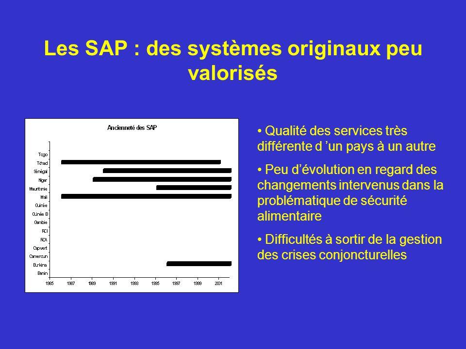 Les SAP : des systèmes originaux peu valorisés Qualité des services très différente d un pays à un autre Peu dévolution en regard des changements intervenus dans la problématique de sécurité alimentaire Difficultés à sortir de la gestion des crises conjoncturelles