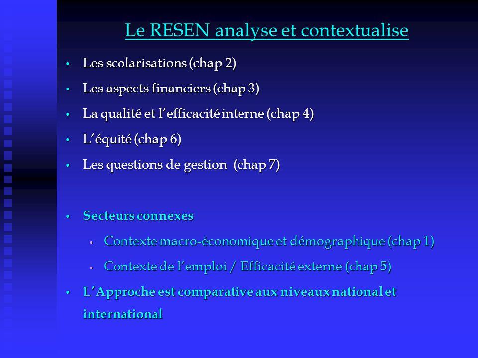 Le RESEN analyse et contextualise Les scolarisations (chap 2) Les scolarisations (chap 2) Les aspects financiers (chap 3) Les aspects financiers (chap