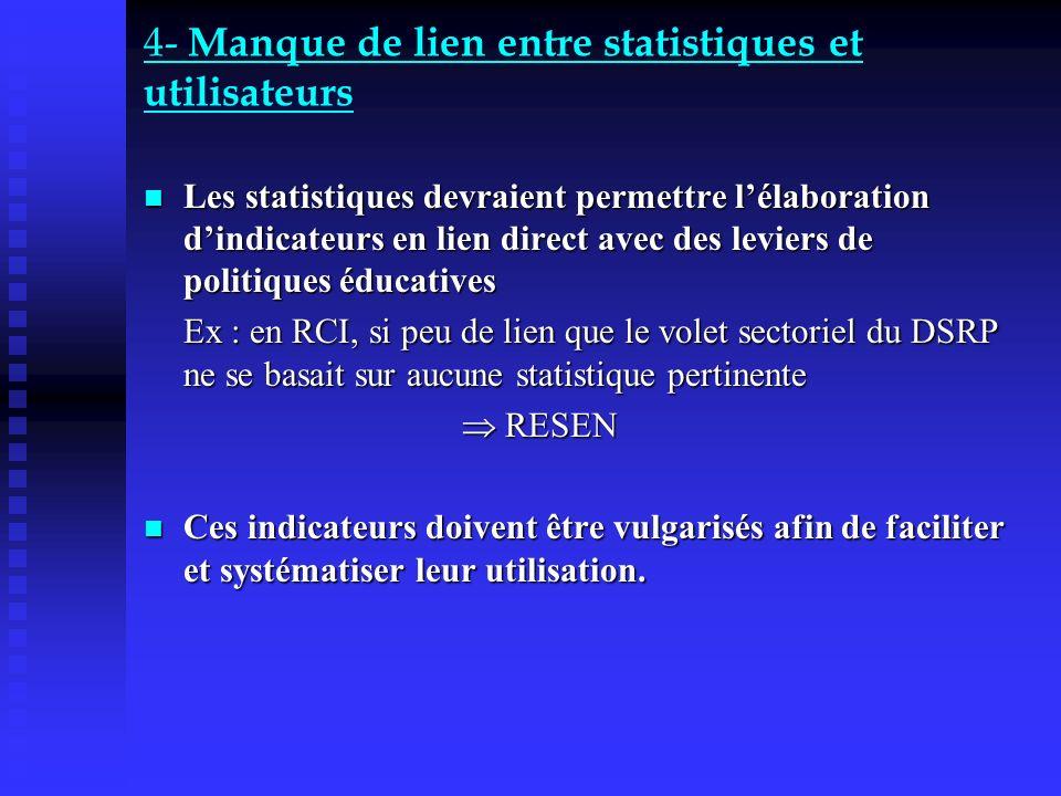 4- Manque de lien entre statistiques et utilisateurs Les statistiques devraient permettre lélaboration dindicateurs en lien direct avec des leviers de