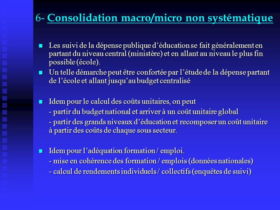 6- Consolidation macro/micro non systématique Les suivi de la dépense publique déducation se fait généralement en partant du niveau central (ministère