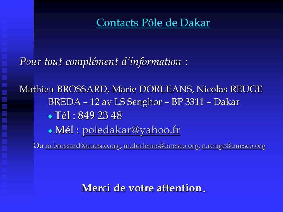 Contacts Pôle de Dakar Pour tout complément dinformation : Mathieu BROSSARD, Marie DORLEANS, Nicolas REUGE BREDA – 12 av LS Senghor – BP 3311 – Dakar